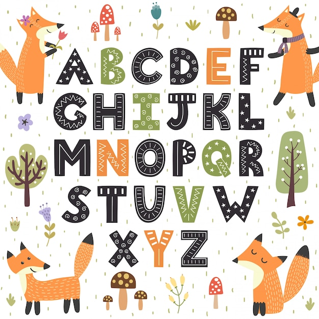 Forest alphabet with cute foxes  hand drawn letters from a