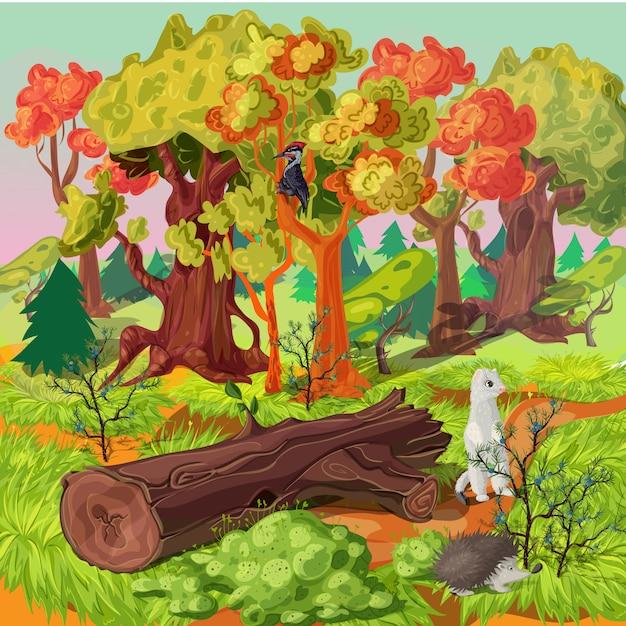 森と動物のイラスト 無料ベクター