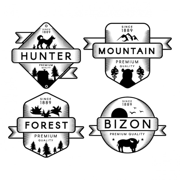 Лес и горный набор логотип Premium векторы