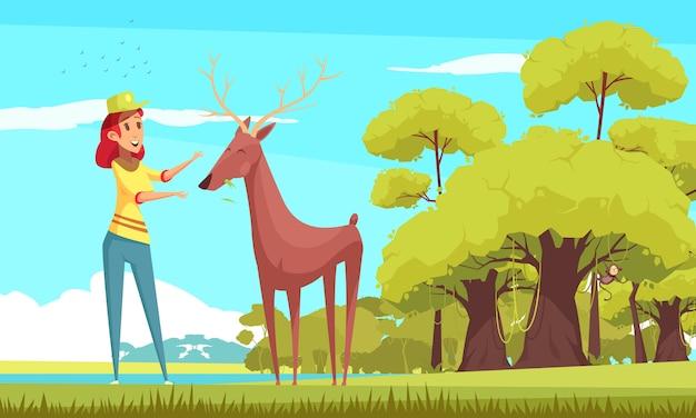 Forest animal feeding cartoon illustration Free Vector