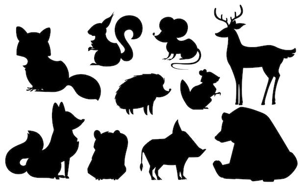 森の動物は黒いシルエットの動物の略奪的で草食性の哺乳類を設定しました Premiumベクター