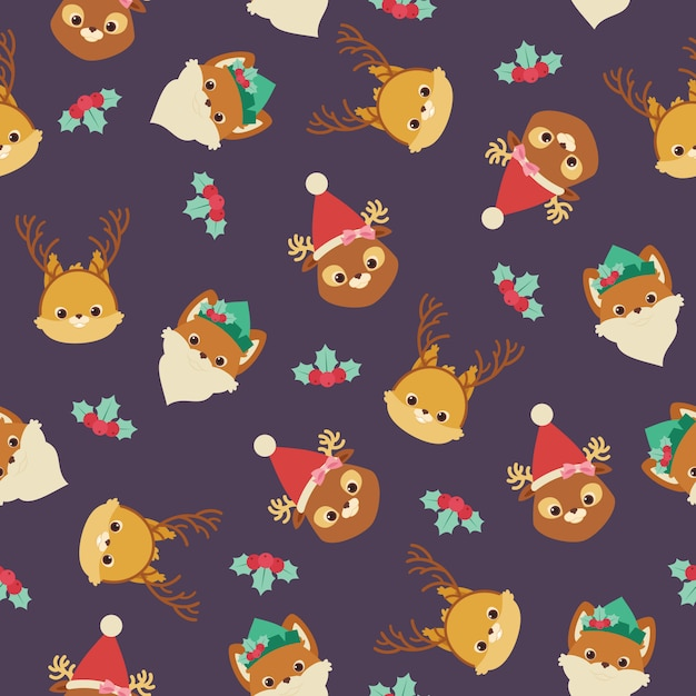 Forest animals in christmas themed hats and headbands. Premium Vector