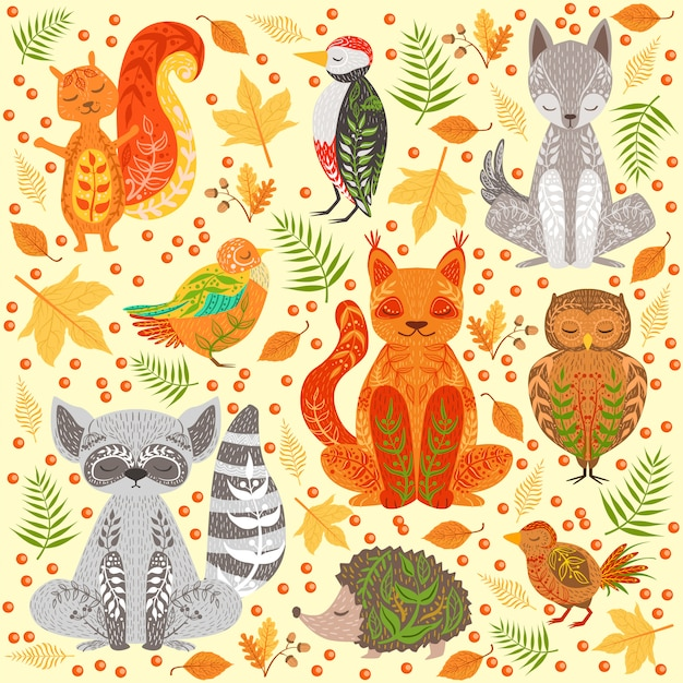 Forest animals covered in crative ornaments illustration Premium Vector