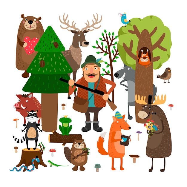 Forest animals and hunter illustration set Free Vector