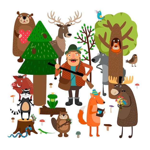 Insieme dell'illustrazione degli animali della foresta e del cacciatore Vettore gratuito