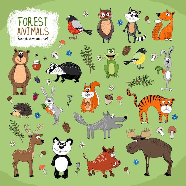森の動物セット 無料ベクター