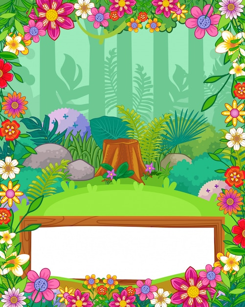 Forest background with flowers and blank sign wood vector Premium Vector