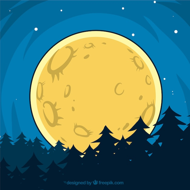 Forest background with moon drawn by\ hand