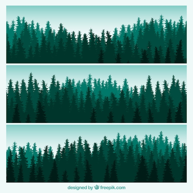 Forest banners Free Vector