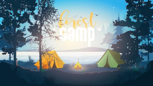 Знамя лесного лагеря. наружная иллюстрация. кемпинг в лесу. Premium векторы