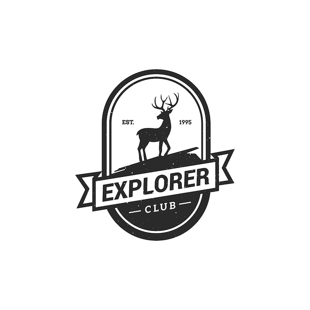 Forest camping logo emblem vector illustration. Premium Vector