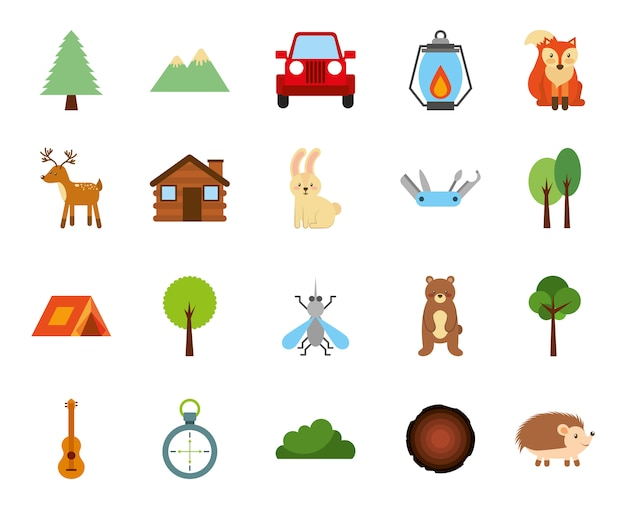 Forest camping zone set icons Free Vector