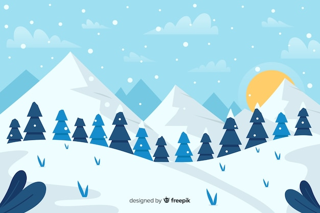 Forest of christmas trees and mountains with sun Free Vector