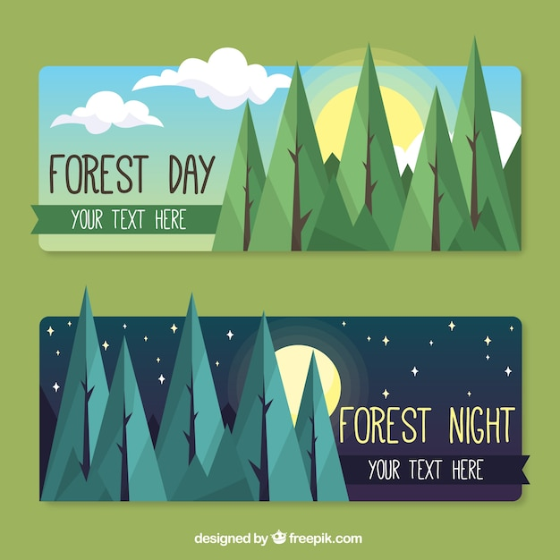 Forest day and night banners in flat\ design