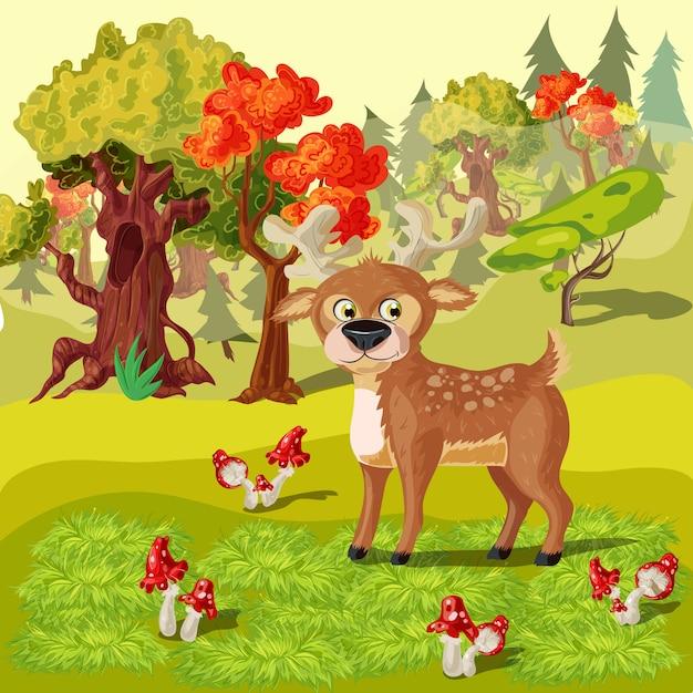 Forest deer cartoon style illustration Free Vector