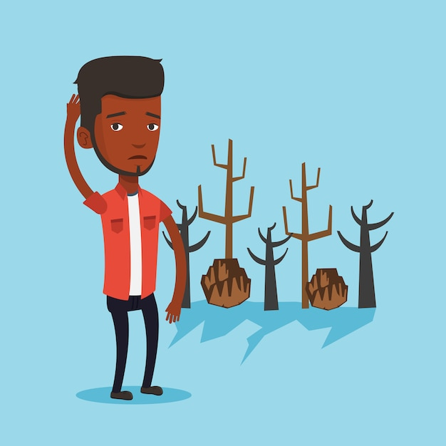 Forest destroyed by fire or global warming. Premium Vector