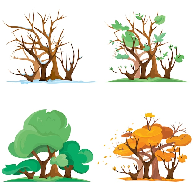 Forest at different times of year. illustration of four season in cartoon style.