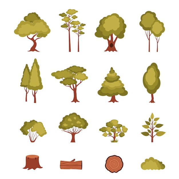 Forest elements set Free Vector
