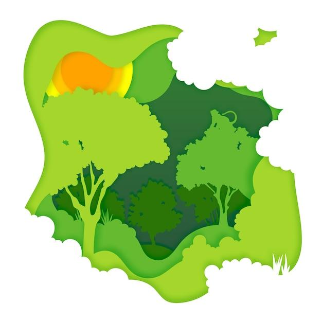 Concetto ambientale della foresta nello stile di carta Vettore gratuito