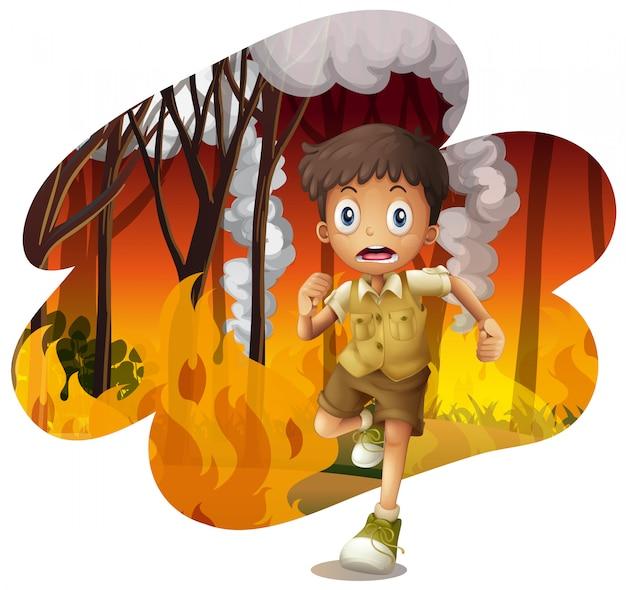 Forest explorer run awat from wildfire Premium Vector