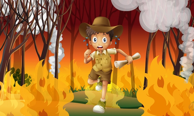 Forest explorer run awat from wildfire Premium Vector