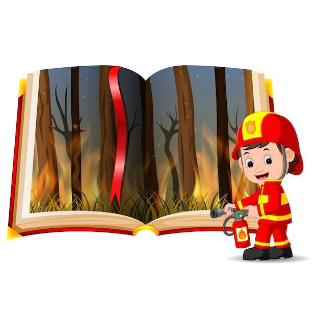 Forest on fire in the book and firefighter Premium Vector