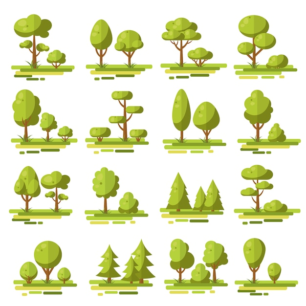 Набор лесных плоских элементов Бесплатные векторы