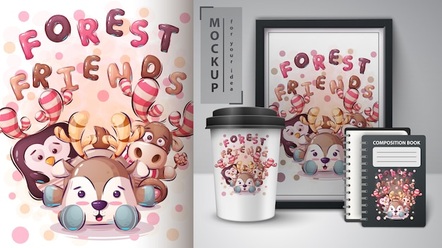 Forest friends poster and merchandising Premium Vector