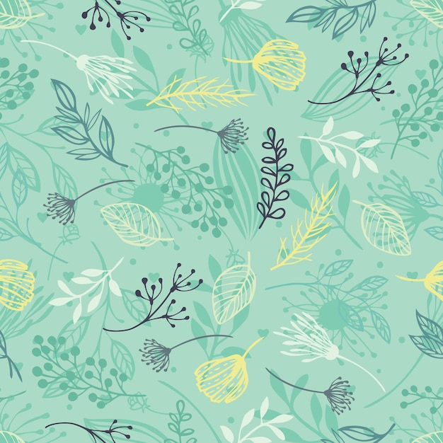 Forest herbs, blue background Free Vector