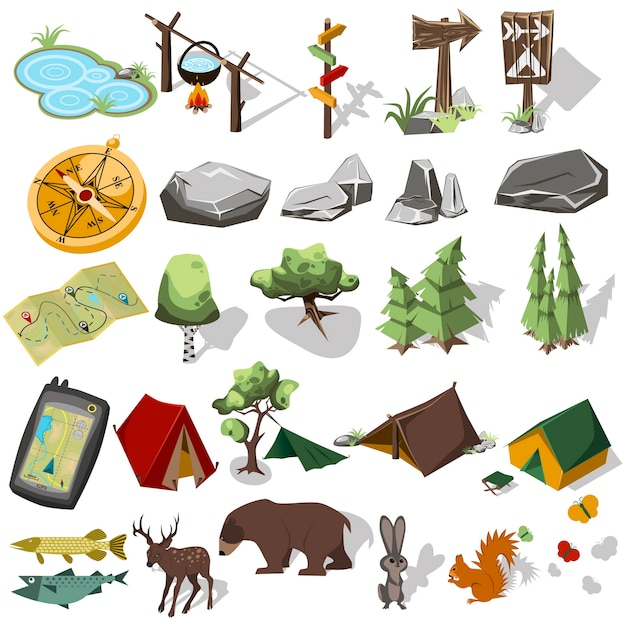 Forest hiking elements for landscape design. tent and camp, tree, rock, wild animals. Premium Vector