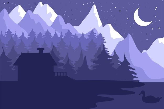 Forest house in the night coniferous forest Premium Vector