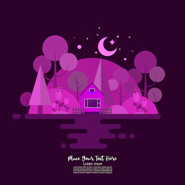 Forest house in ultraviolet colors Premium Vector