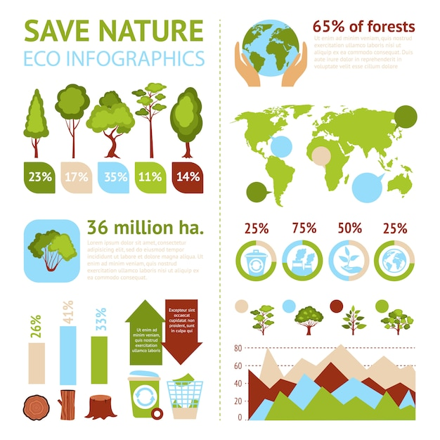Forest infographics set Free Vector