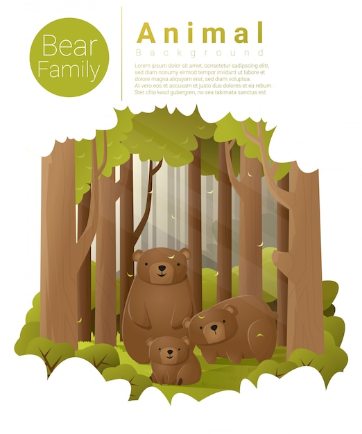 Forest landscape background with bears Premium Vector