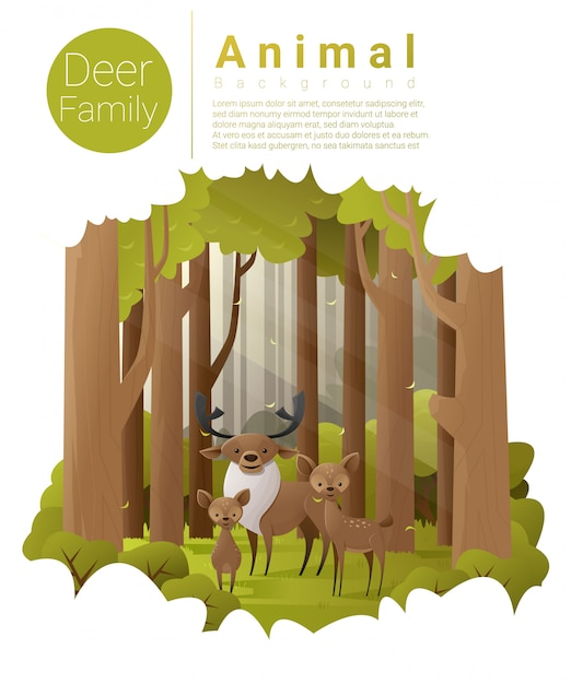 Forest landscape background with deer Premium Vector