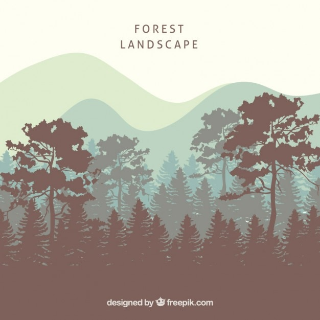 Forest landscape background with tree\ silhouettes
