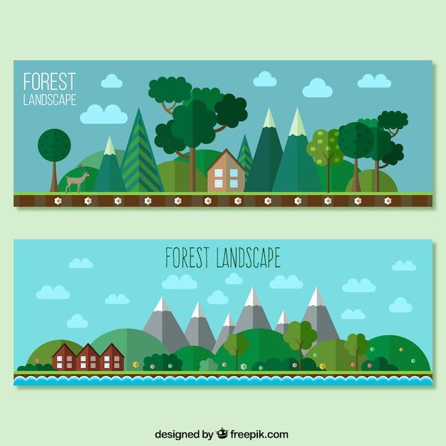 Landscape Illustration Vector Free: Forest Landscape Banners In Flat Design Vector