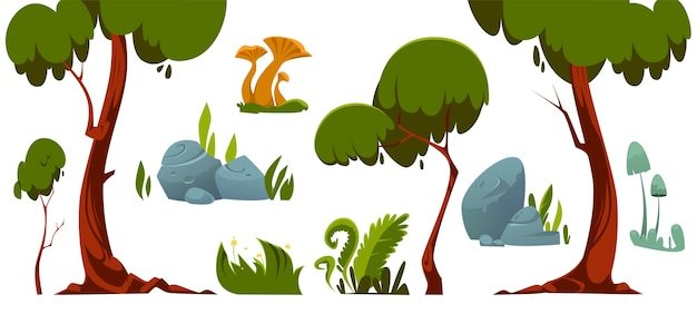Forest landscape elements, trees, green grass, stones and mushroom. Free Vector