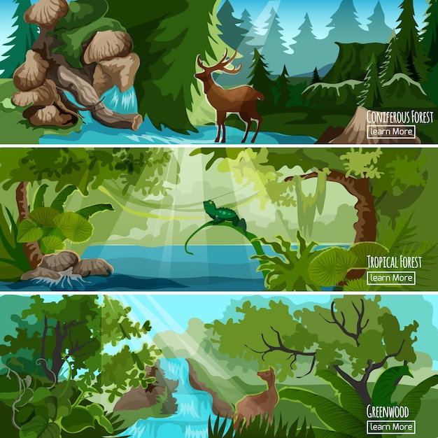 Forest landscape horizontal banners set Free Vector