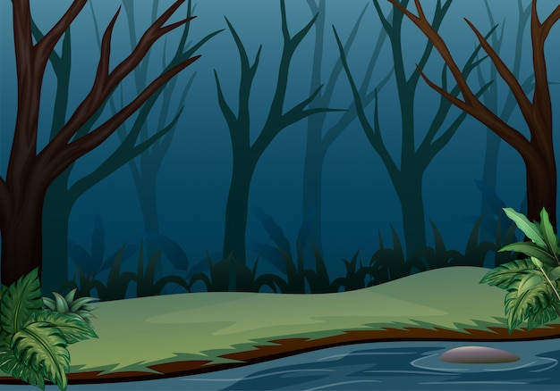Forest landscape on night scene with dry trees Premium Vector