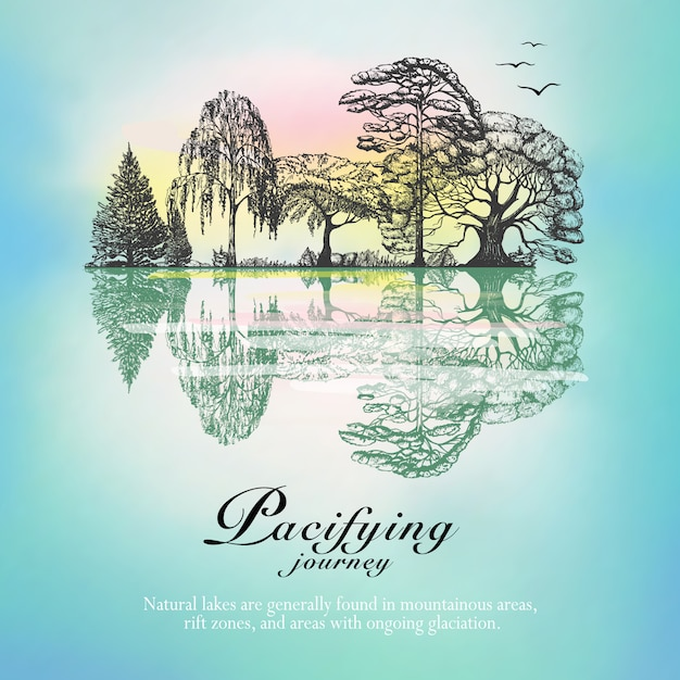Forest landscape reflection hand drawn poster Free Vector