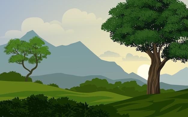 산 숲 풍경 프리미엄 벡터