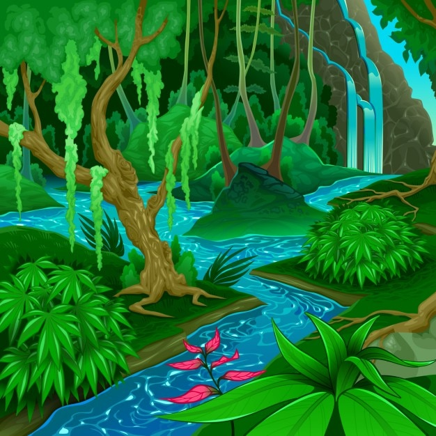 Forest landscape with a river Free Vector