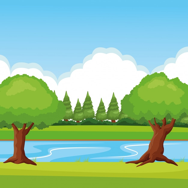 Forest landscape with river Free Vector