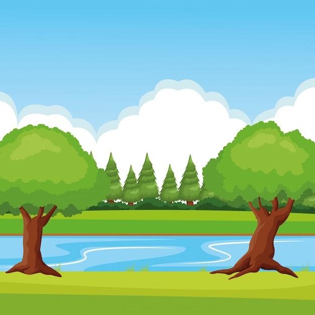 川と森の風景 無料ベクター