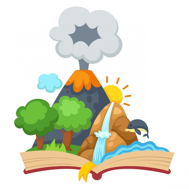 Forest and mountain with open book Premium Vector