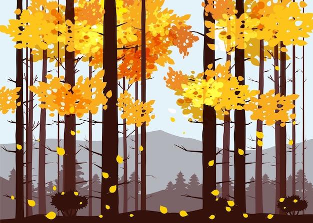 森、山、松の木のシルエット、もみ、パノラマ、地平線 Premiumベクター