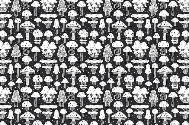 森のきのこ。パターン。インクデザイン Premiumベクター