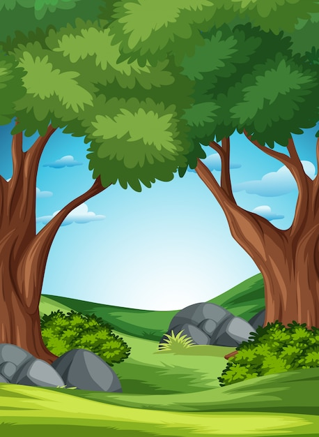 A forest nature scene Free Vector
