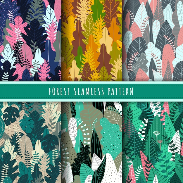 Forest and nature seamless pattern collection. Premium Vector